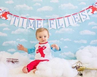 Time Flies banner, time flies, time flies birthday, first birthday, plane birthday, plane decorations