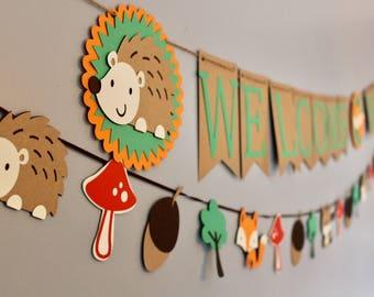 Woodland Baby Shower, Woodland Baby Shower Decorations, Baby Shower Banner,  Rustic Shower, Banner, Woodland Banner, Boys Baby Shower