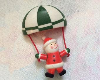 Vintage Dangling Parachuting Santa Pin Brooch