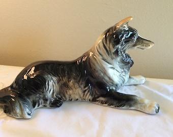 Marked Nippon Japan Collie Dog Porcelain Figurine