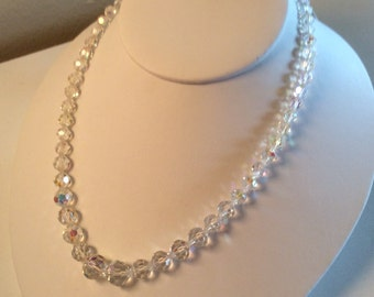 Vintage Light Catching Clear Aurora Borealis Faceted Crystal Necklace
