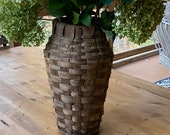 "RARE 15"" Tall Hand Woven Basket Vase Rustic Farmhouse Indoor Faux Flower Greenery Urn French Country THICK Split Rattan Boho Weaving Art"