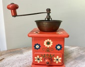1950 39 s W. German Wood Cast Iron WORKING Coffee Grinder FOLK Art Rustic Farmhouse Kitchen Decor French Bakery Cafe Shop Bar MOTHERS Gift