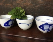 Set of 3 Asian Tea Cups Chinese Blue White GONGFU Tea Party WABI Sabi Modern Fish Ceramic Decor CHINOISERIE Small Succulent Planters Gift