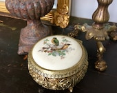 Vintage PORCELAIN Gold Ormulo Footed Jewelry Box Hollywood Regency Vanity Round Brass Storage REPOUSSE Trinket Song BIRDS Mothers Day Gift