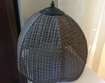 Wire lampshade frame etsy mid century wicker lamp shade vintage woven brown stained table metal top interior wire frame retro lampshade coastal cottage porch decor keyboard keysfo Images