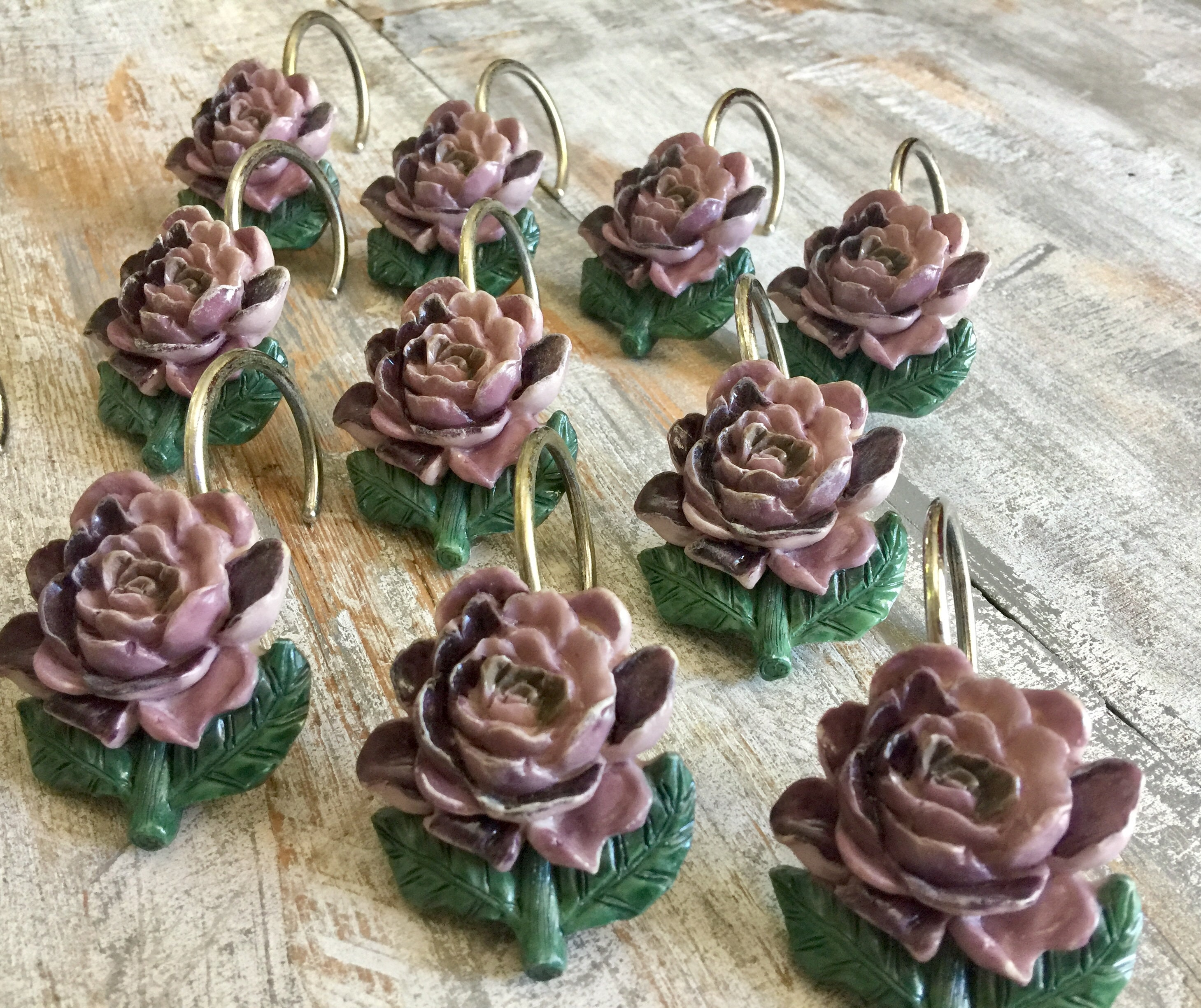 Set Of 11 Resin Shower Curtain Rings Hooks Vintage Purple Roses Green Leaves Shabby Chic Floral Decor Cottage Bathroom Bohemian Dorm Gift