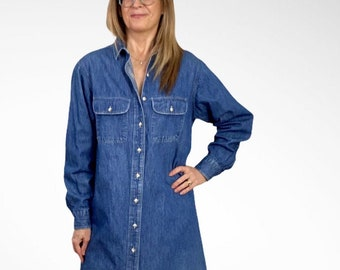 vintage 90s LL Bean Light Wash Denim Jean Shirt men/'s XL made in canada 2d853p
