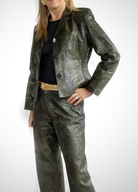 Snakeskin Print Suit, 90s Leather Pants and Jacket - image 5