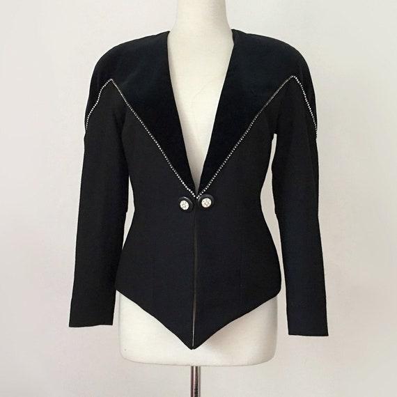 80s New Wave Blazer, Black Velvet Rhinestone Blaze