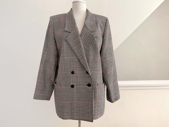 Boxy Plaid Blazer, Oversized Wool Blazer - image 4