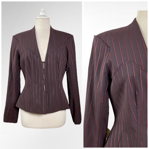 Vintage Thierry Mugler Jacket, Fitted Pinstripe Bl