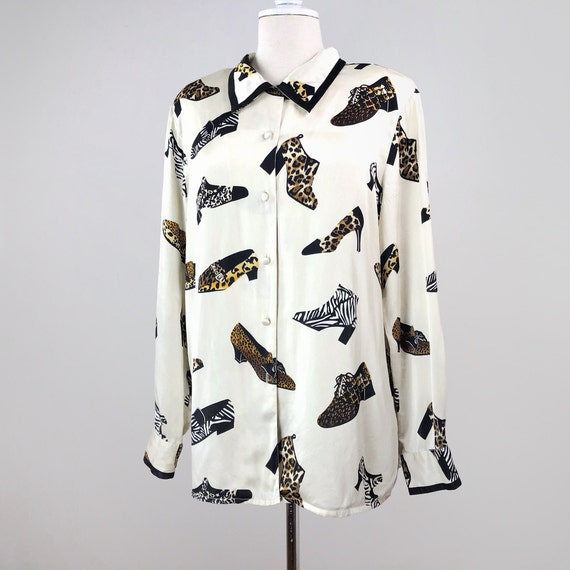 Vintage Statement Blouse, Novelty Print Blouse