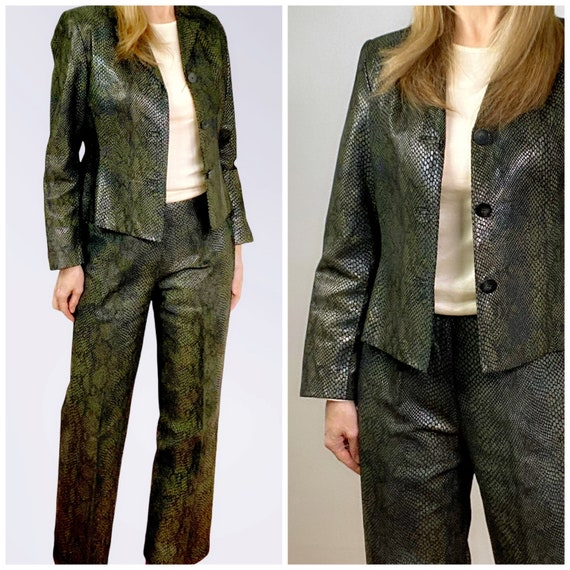 Snakeskin Print Suit, 90s Leather Pants and Jacket - image 1