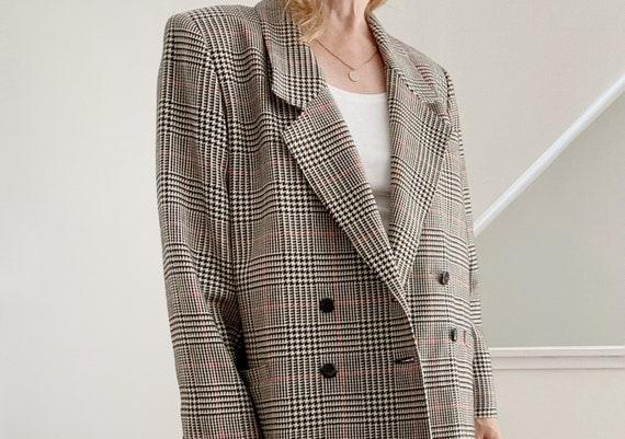 Boxy Plaid Blazer, Oversized Wool Blazer - image 8
