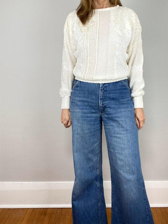 Vintage 70s HIS Blue Jeans, Chic Jeans, Wide Legg… - image 7