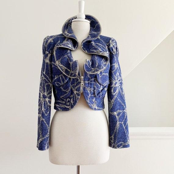 Ruffled Print Jacket, Cropped Blue Jacket
