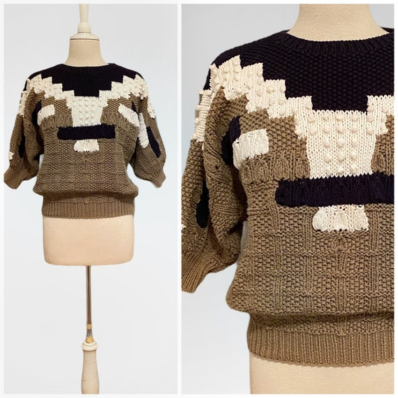80s Chunky Sweater, Popcorn Knit, Cotton Color Blo