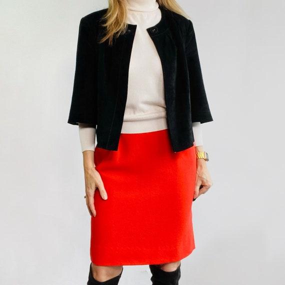 Ungaro Orange Skirt, Wool Pencil Skirt, Skirt with
