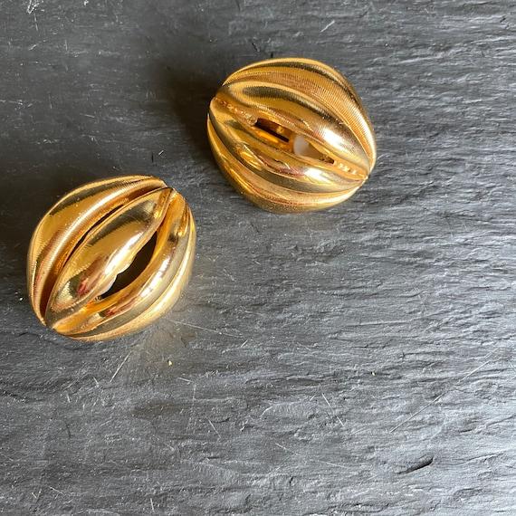 80s Oval Earrings, Ribbed Statement Earrings - image 2