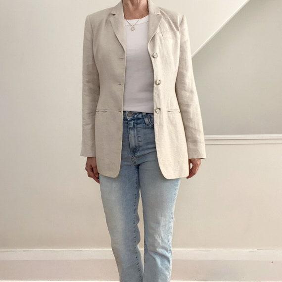 Beige Linen Jacket, Classic Blazer, Banana Republi