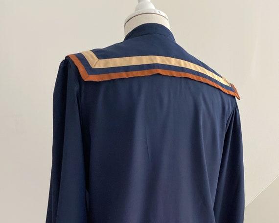Big Collar Blouse, Blue Silky Statement Shirt - image 7