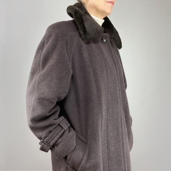 80s Wool Brown Coat, Alpaca Wool Tailored Coat