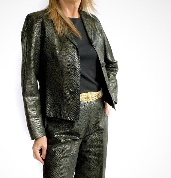 Snakeskin Print Suit, 90s Leather Pants and Jacket - image 3