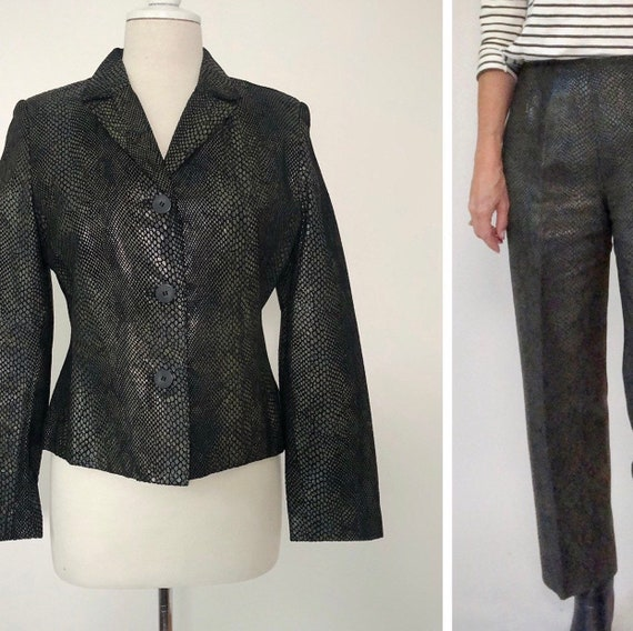 Snakeskin Print Suit, Leather Pants and Jacket