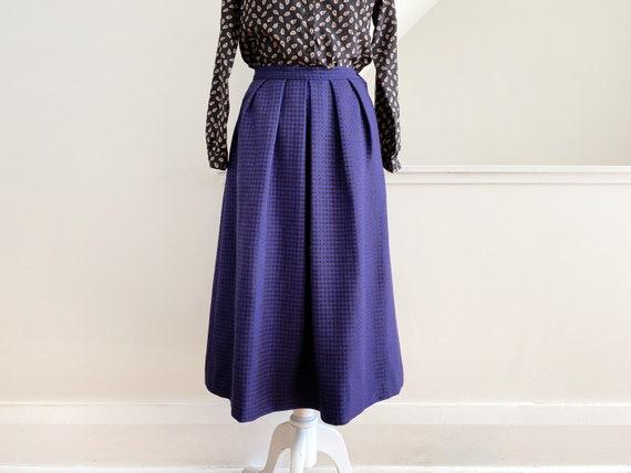 Purple Pleated Skirt, Wool Houndstooth Skirt