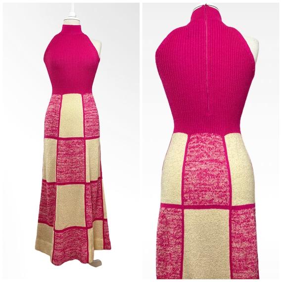 70s Patchwork Maxi Dress, Long Knit Dress, Hand Lo