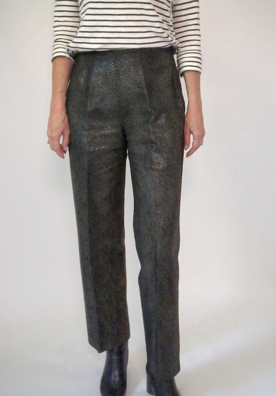 Snakeskin Print Suit, 90s Leather Pants and Jacket - image 7
