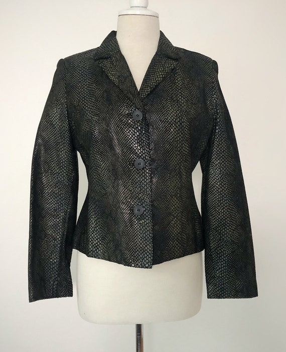 Snakeskin Print Suit, 90s Leather Pants and Jacket - image 2