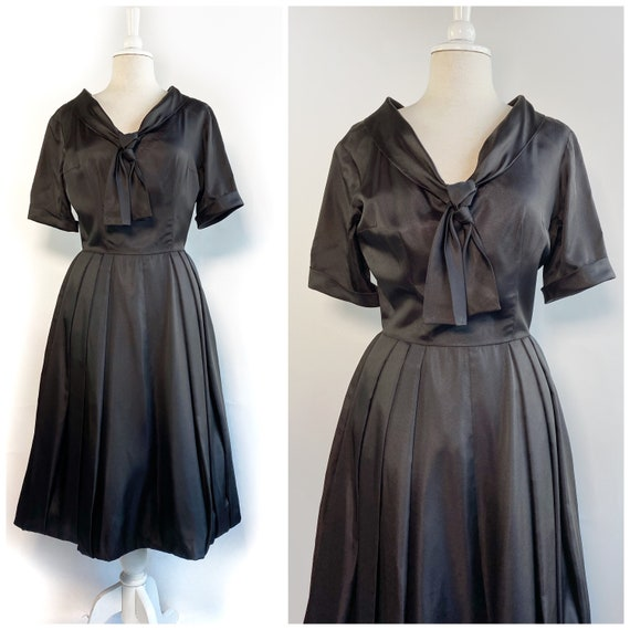 Vintage 50s Dress, Black Taffeta Dress, 50s Full S