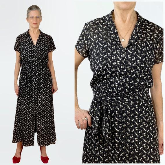 80s Flowy Maxi Dress, Floral Ditsy Print Dress