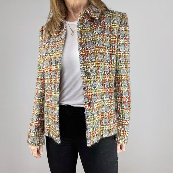 Vintage Tweed Blazer, Colorful Boxy Blazer, Bill B