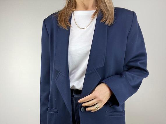 90s Oversized Navy Blazer, Minimalist Wool Blazer… - image 5