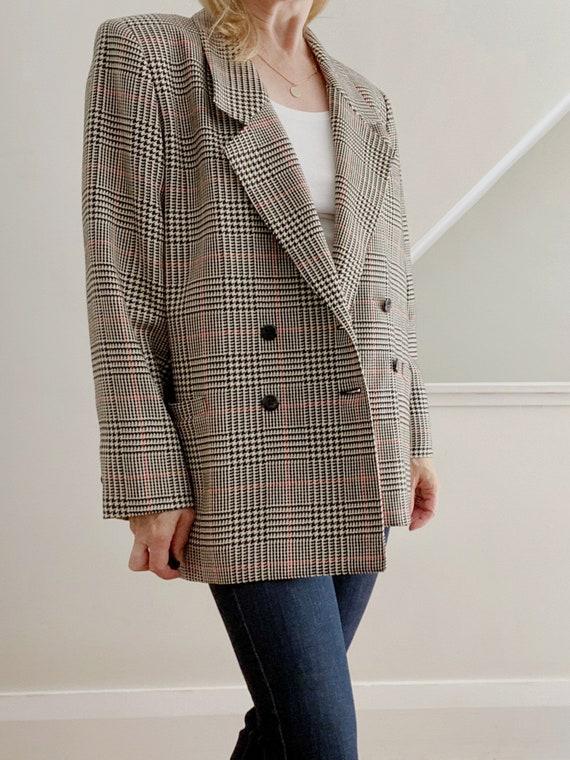 Boxy Plaid Blazer, Oversized Wool Blazer - image 5