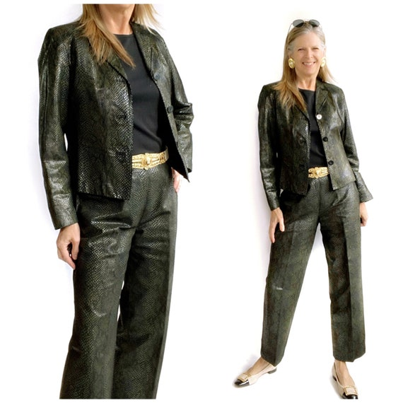 Reptile Leather Suit, 90s Leather Pants and Jacket