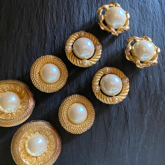 80s Large Round Earrings, Pearl Statement Earrings - image 7