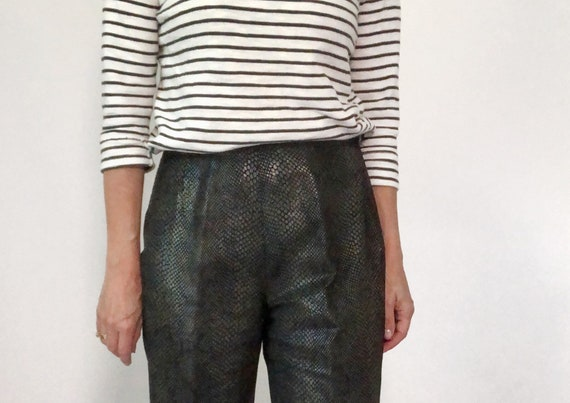 Snakeskin Print Suit, 90s Leather Pants and Jacket - image 8