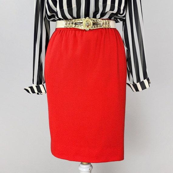 Orange Pencil Skirt, Ungaro Skirt, Wool Skirt, Ski