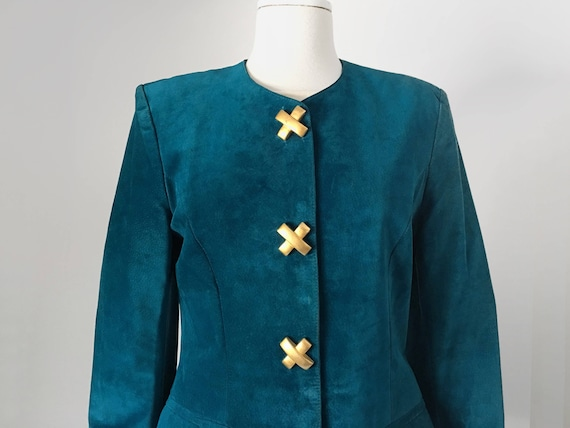 Teal Suede Statement Jacket
