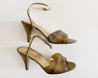 Vintage Metallic Sandals, Charles David Sandals, Made in Greece, Size 6