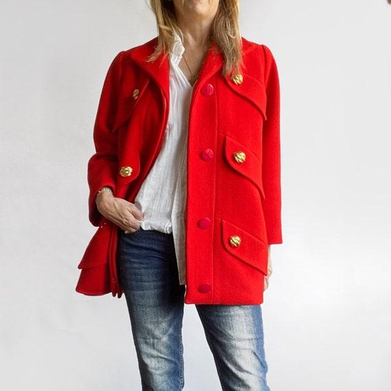 Preppy Red Coat, Vintage Car Coat, Red Winter Coat
