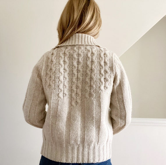 Cable Knit Cardigan, Beige Wool Cardigan