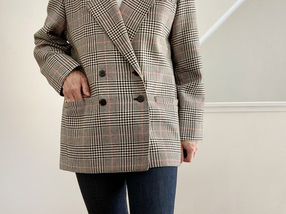 Boxy Plaid Blazer, Oversized Wool Blazer - image 9