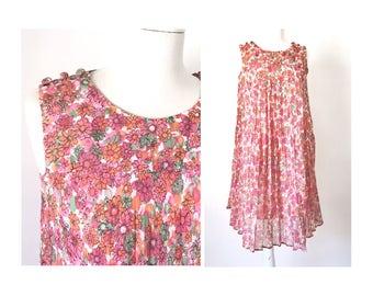 Baby Doll Dress, Floral Print, Sleeveless Dress, Pink Summer Dress, Boho Dress
