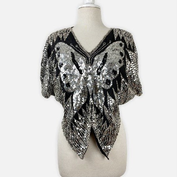 70s Sequin Butterfly Top, Disco Party Top