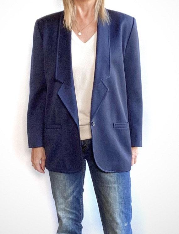 90s Oversized Navy Blazer, Minimalist Wool Blazer… - image 2